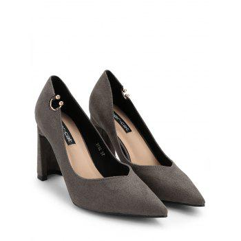 High Heel Pointed Toe Buckled Pumps - GRAY 37