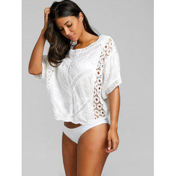 Batwing Sleeve Crochet Panel Beach Cover Up - WHITE ONE SIZE
