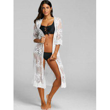Lace See Through Maxi Beach Cover Up - WHITE WHITE