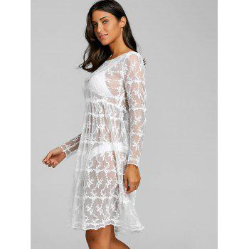 Lace See Thru Cover Up Beach Dress - WHITE WHITE
