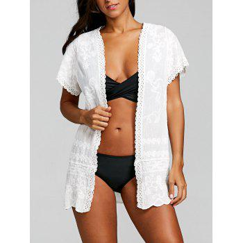 Embroidered Tunic Beach Cover Up - WHITE WHITE