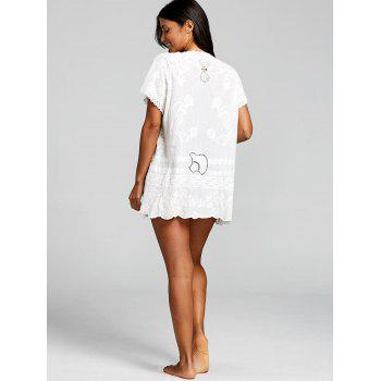 Embroidered Tunic Beach Cover Up - WHITE ONE SIZE