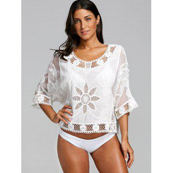 Batwing Sleeve Openwork Cover Up - WHITE ONE SIZE