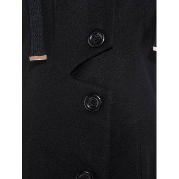 Drawstring Single Breasted Skirted Coat - BLACK S