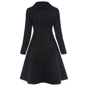 Drawstring Single Breasted Skirted Coat - BLACK L