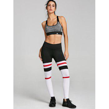 Stripe Panel Openwork Workout Leggings - multicolorCOLOR L