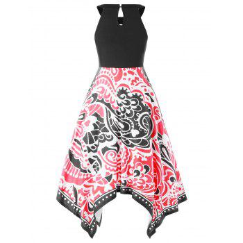 Tribal Print Handkerchief Swing Dress - BLACK L