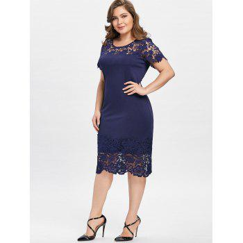 Plus Size Lace Edge Cutwork Pencil Dress - PURPLISH BLUE 4XL