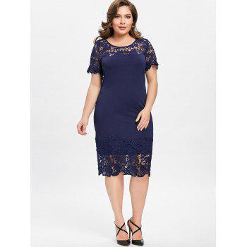 Plus Size Lace Edge Cutwork Pencil Dress - PURPLISH BLUE 2XL