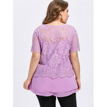 Summer Plus Size Twinset Tops - LIGHT PURPLE 3XL
