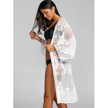 Embroidered Lace Sheer Kimono Cover Up - WHITE ONE SIZE