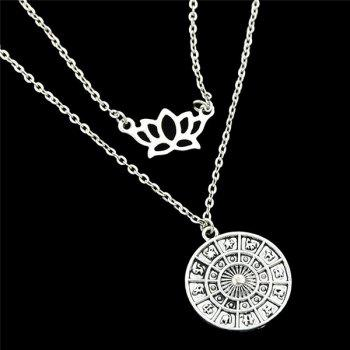 Hollow Out Layered Crown Cameo Pendant Necklace - SILVER
