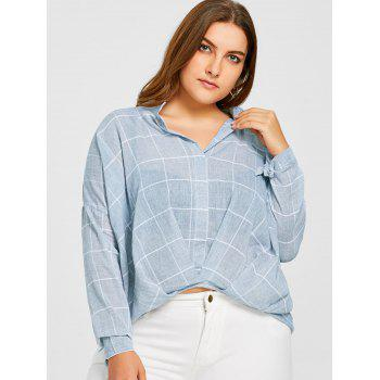 Grid High Low Plus Size Blouse - BLUE 2XL