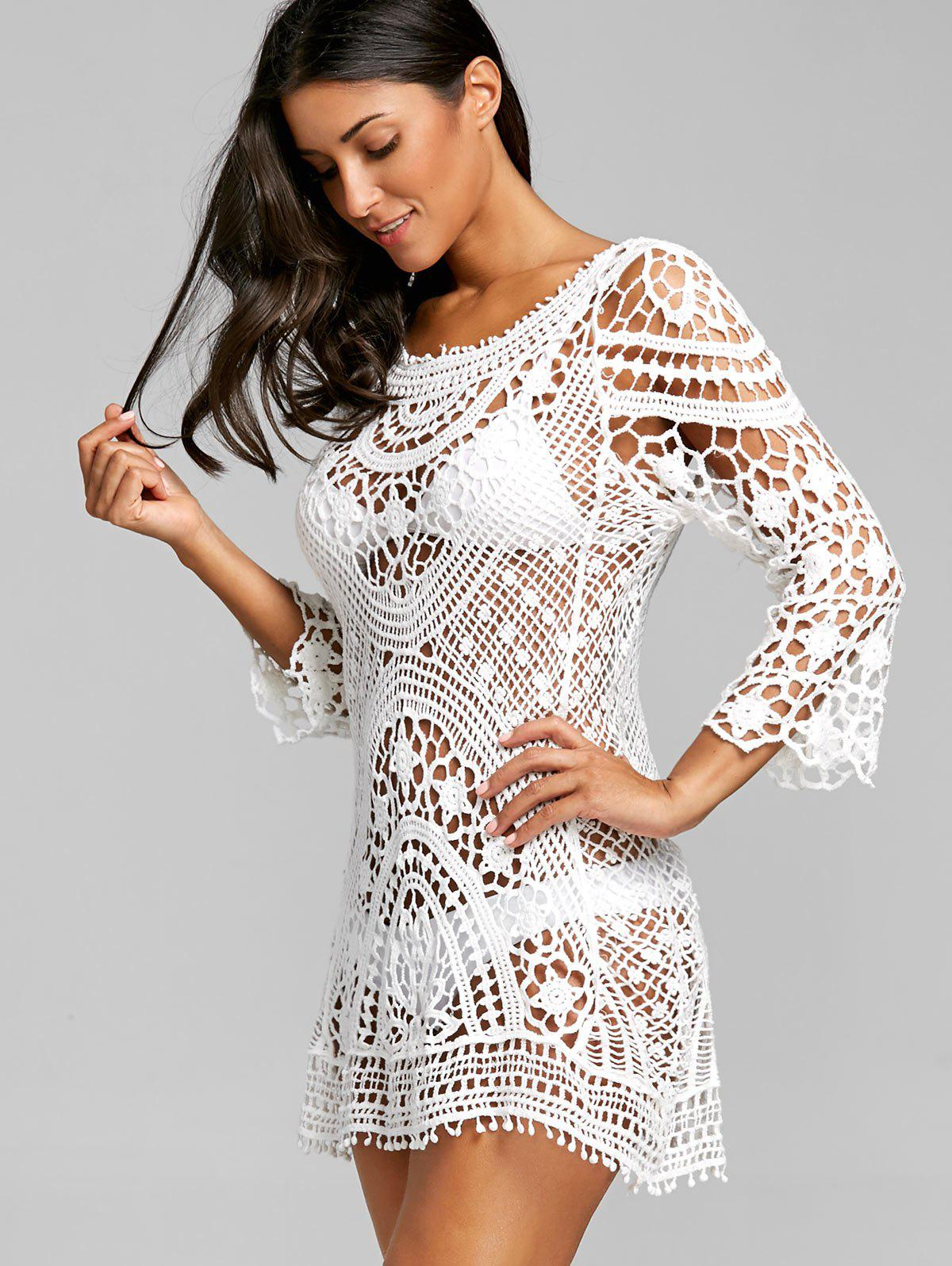 Crochet Low Back Lace Cover Up Top - WHITE ONE SIZE