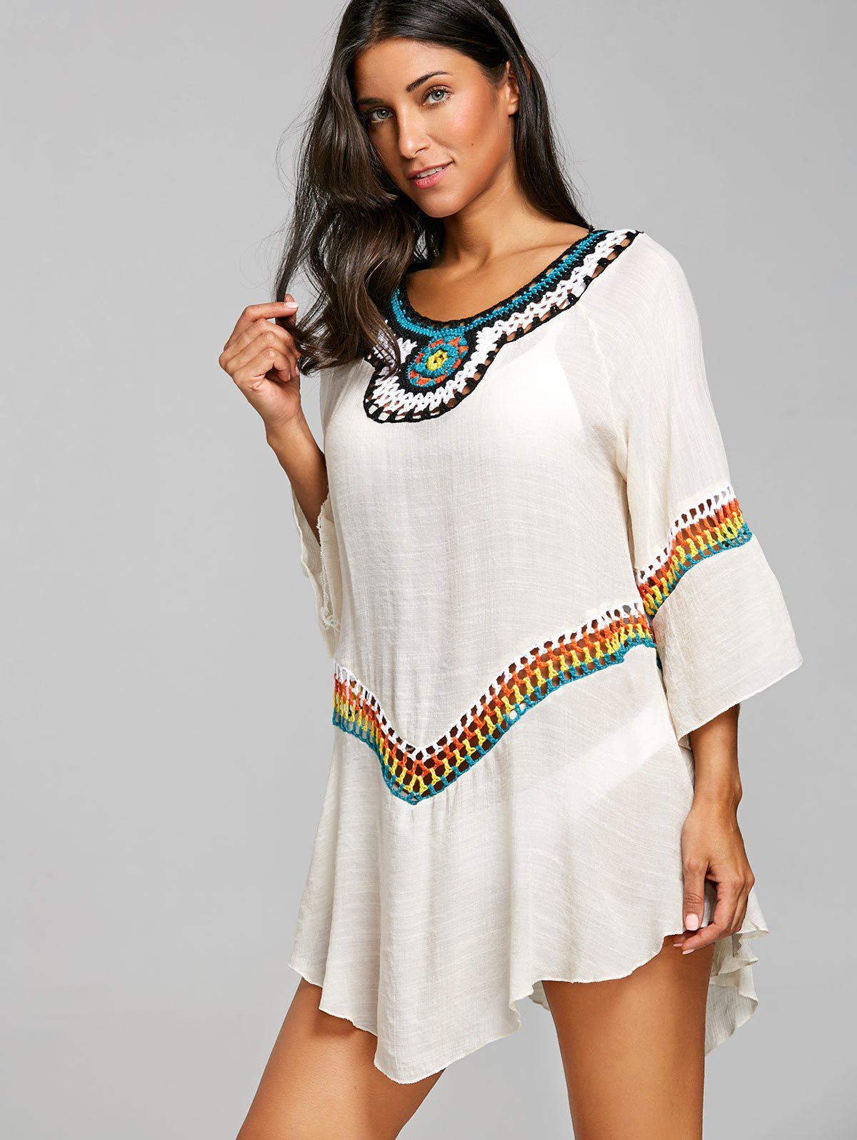 Crochet Panel Asymmetrical Tunic Cover Up Top - OFF WHITE ONE SIZE