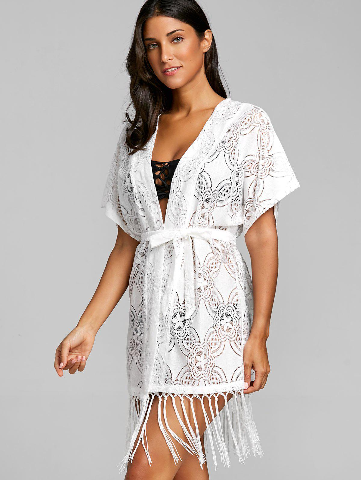 Open Front Fringed Crochet Cover Up Top - WHITE ONE SIZE