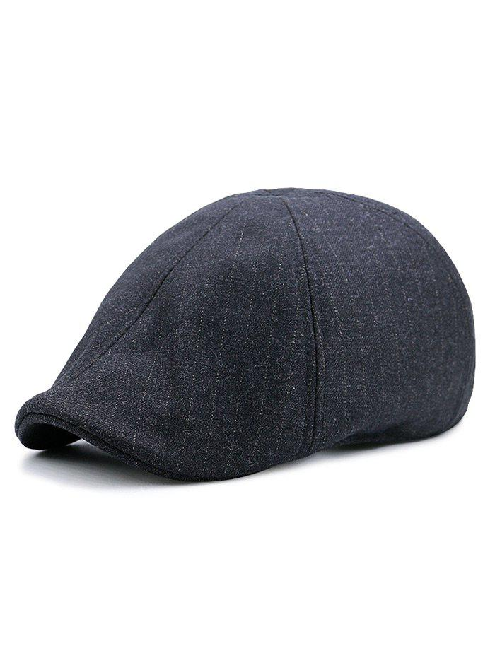 Soft Simple Herringbone Pattern Adjustable Newsboy Hat - BLACK