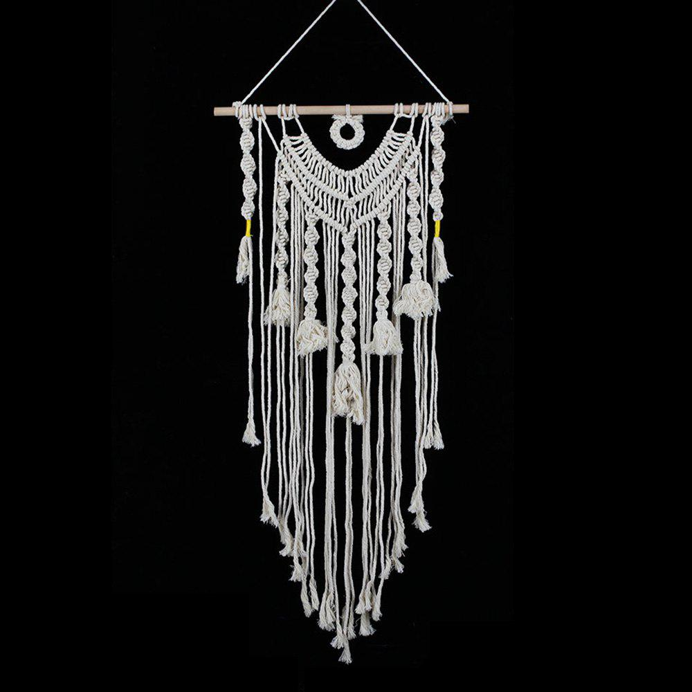 Handmade Fringed Cotton Woven Wall Hanging Art - OFF WHITE