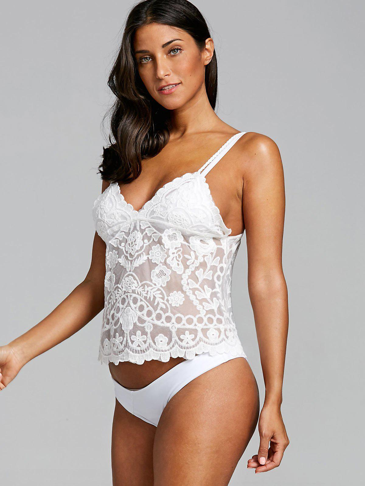 Lace Embroidery Beach Cami Top - WHITE ONE SIZE