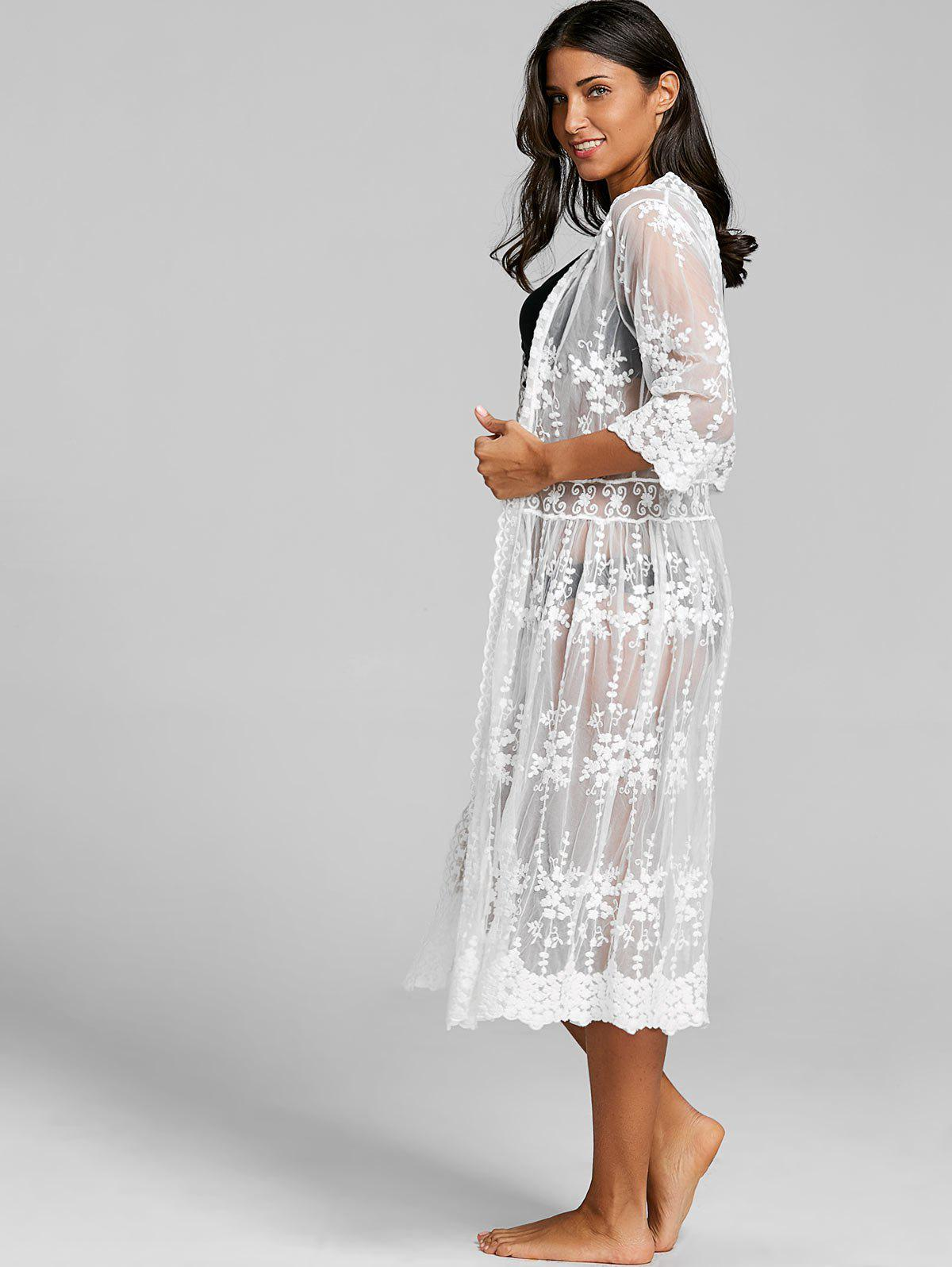 Lace See Through Maxi Beach Cover Up - WHITE ONE SIZE