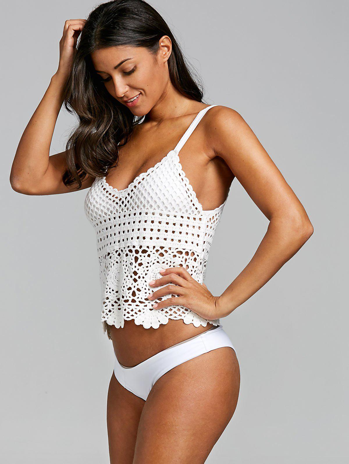 Cover Up Crochet Cami Top - WHITE ONE SIZE
