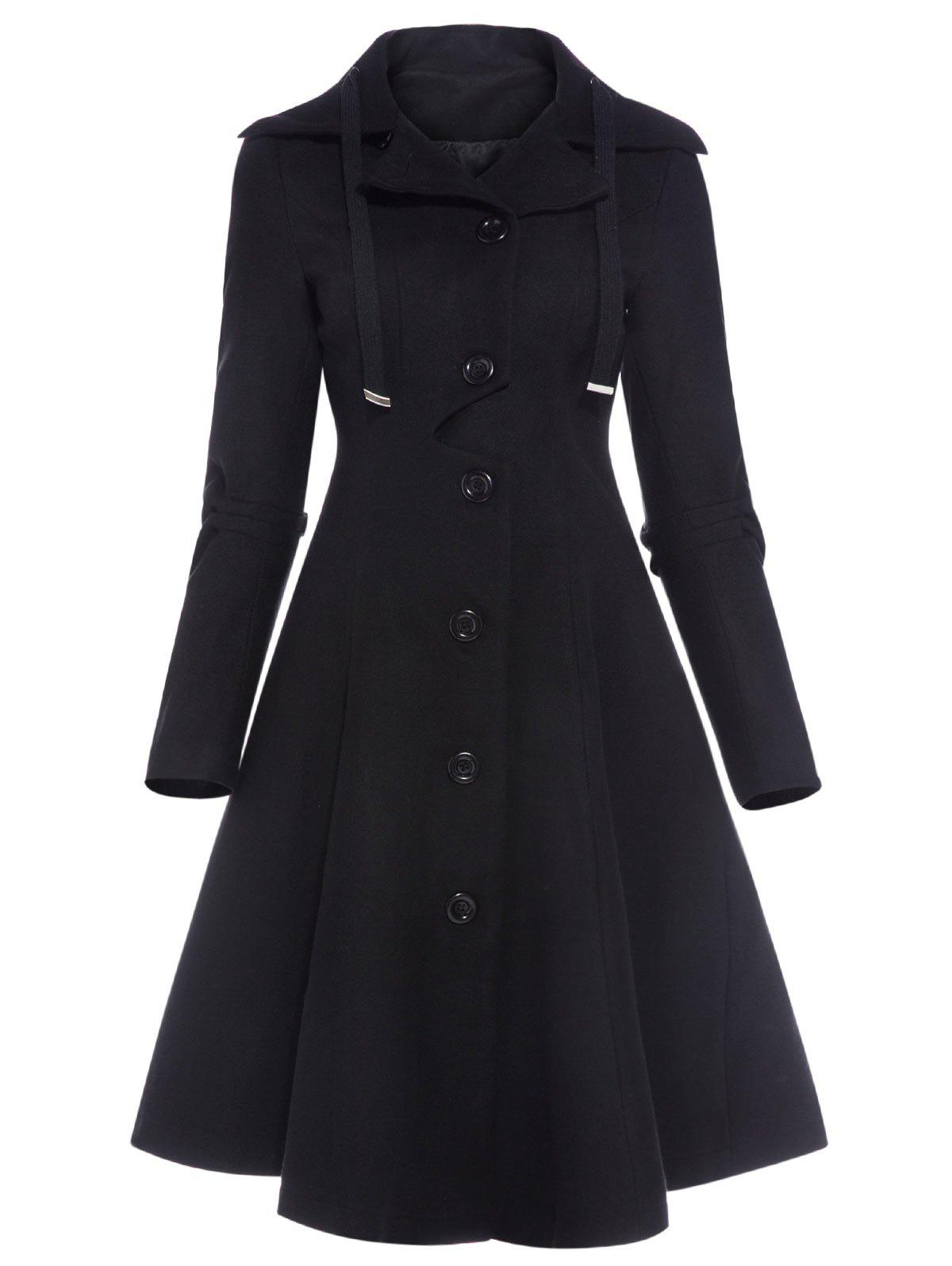 Drawstring Single Breasted Skirted Coat - BLACK 2XL