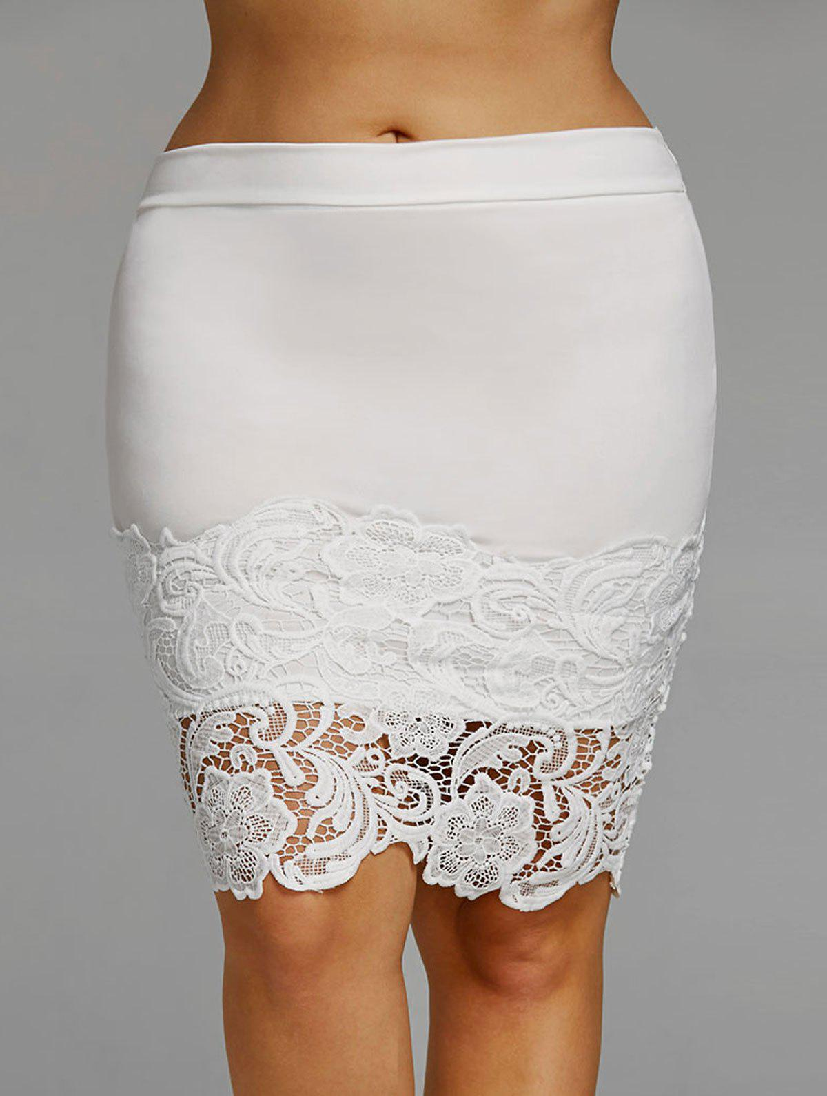 Plus Size Lace Trim Bodycon Skirt