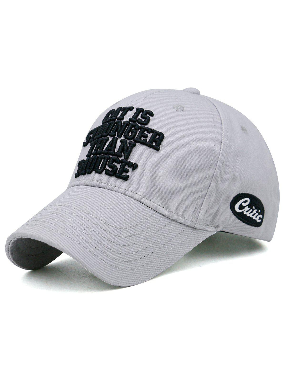 Funny Letter Embroidery Adjustable Baseball Cap - LIGHT GRAY