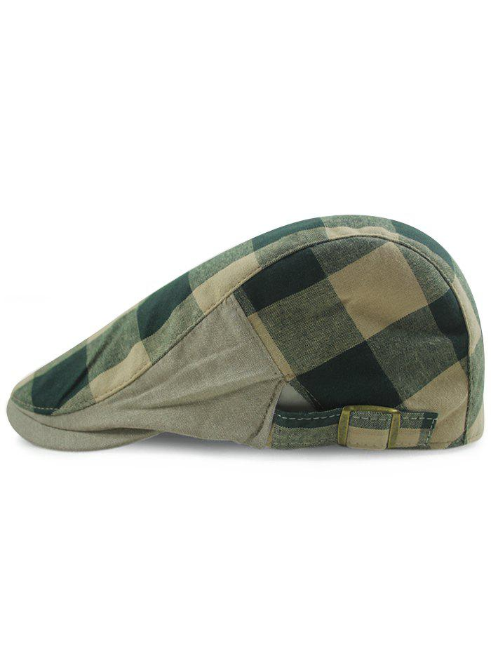 Outdoor Checked Pattern Embellished Adjustable Cabbie Hat - BLACKISH GREEN