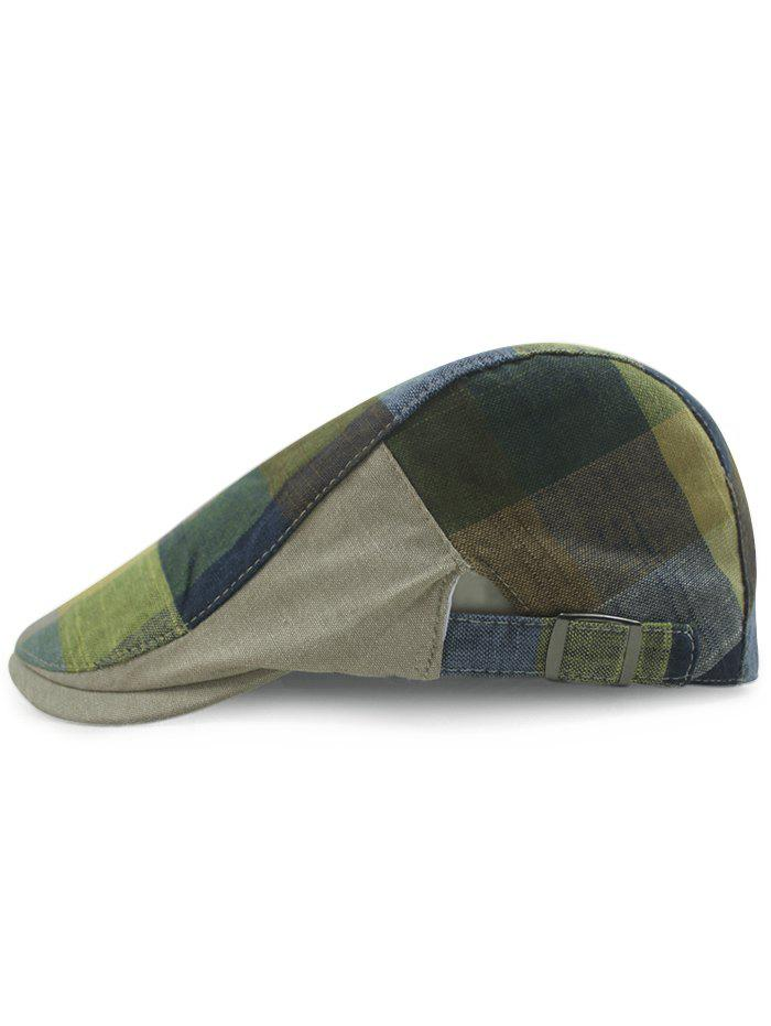 Outdoor Checked Pattern Embellished Adjustable Cabbie Hat - EARTHY