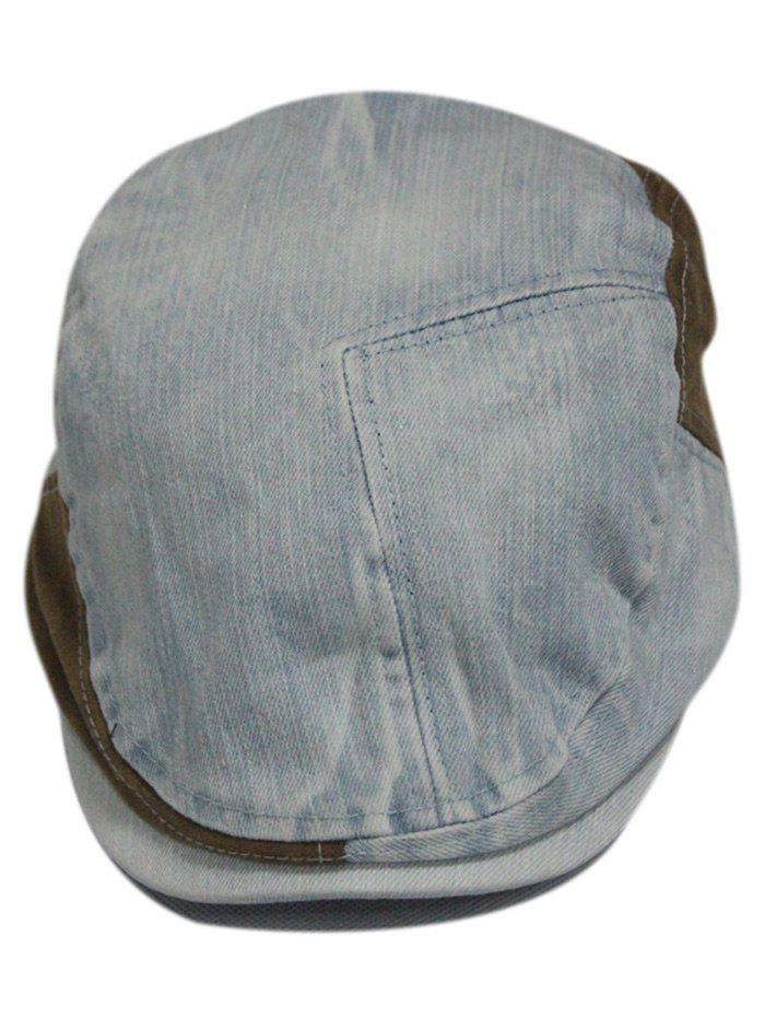 Retro Adjustable Washed Denim Newsboy Cap - LIGHT BLUE