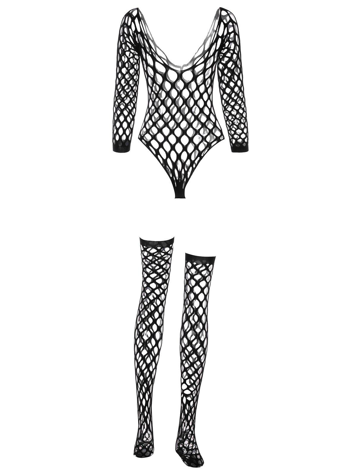 Fishnet Teddy Lingerie with Stockings - BLACK ONE SIZE