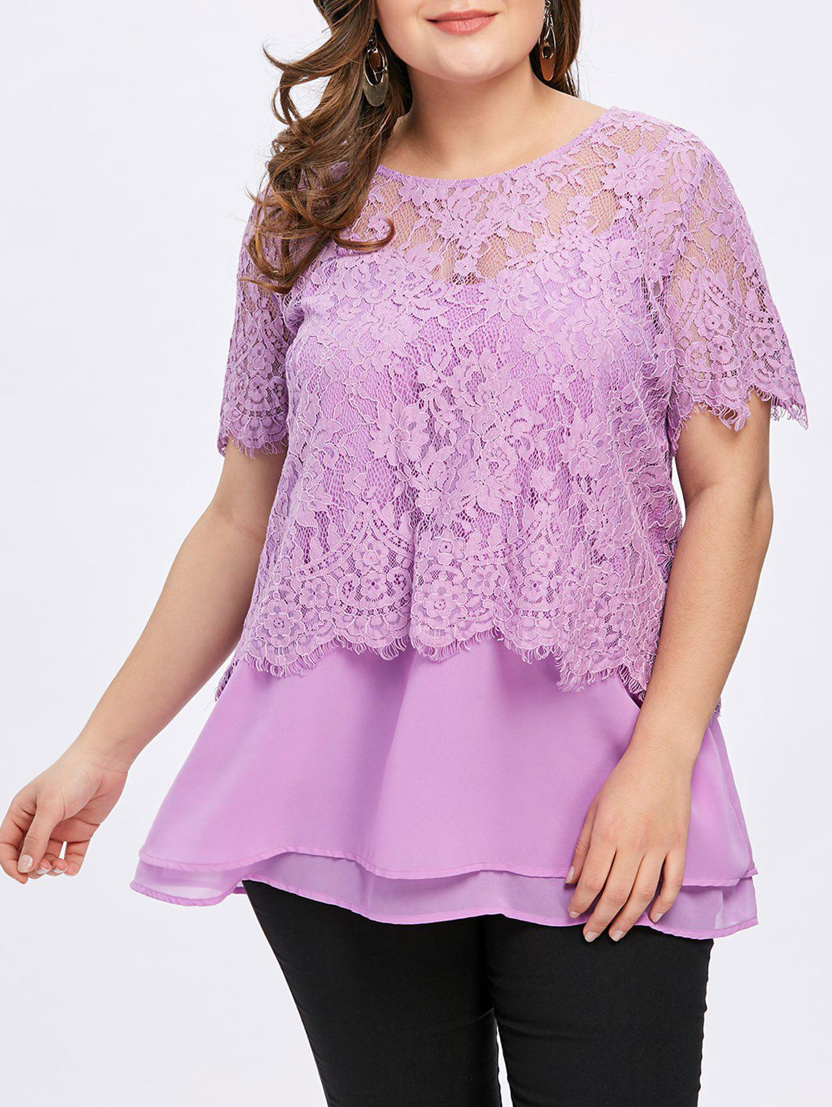 Summer Plus Size Twinset Tops - LIGHT PURPLE 5XL