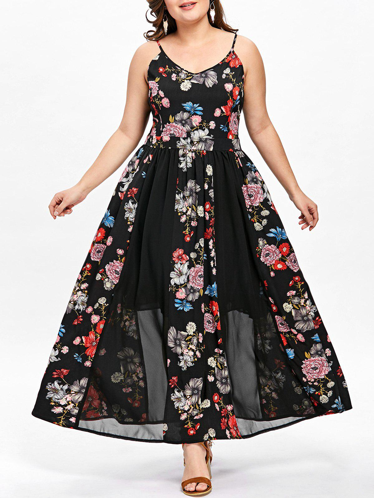 2018 Plus Size Bohemian Floral Flowy Slip Dress Black Xl In Maxi