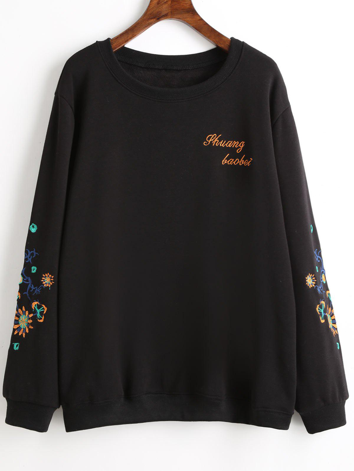 Graphic Embroidered Plus Size Fleece Lined Sweatshirt - BLACK 3XL