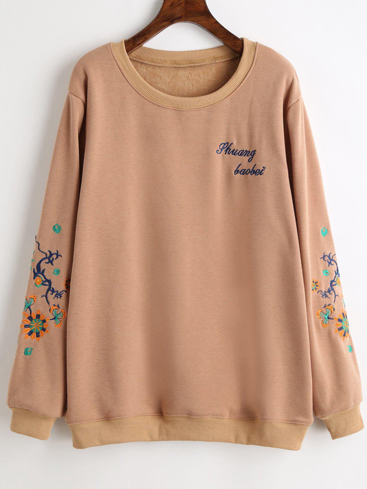 Graphic Embroidered Plus Size Fleece Lined Sweatshirt - APRICOT 4XL