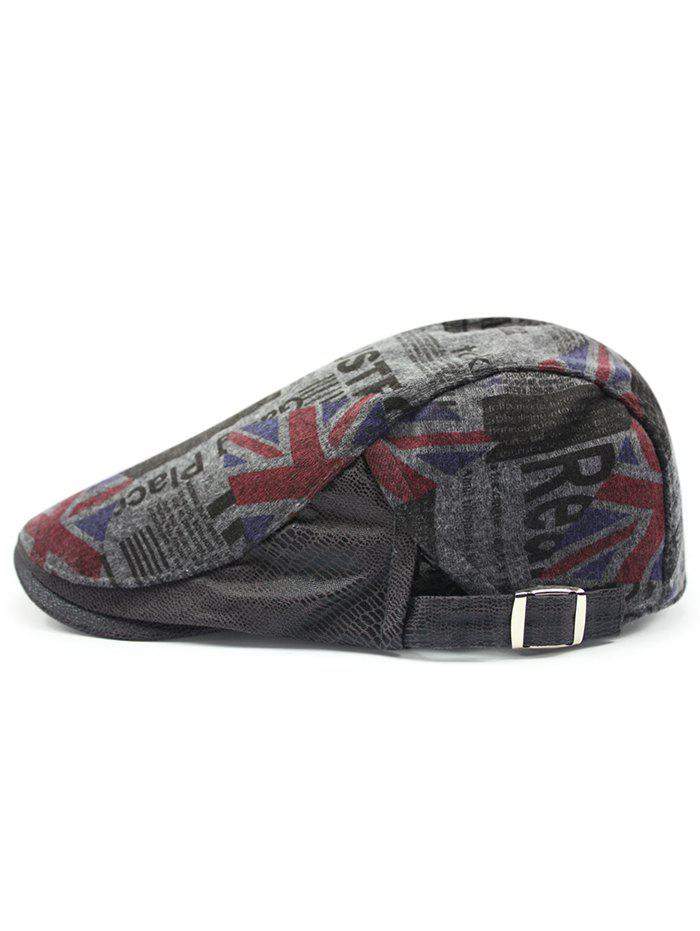 British Flag Embellished Adjustable Flat Hat - DEEP GRAY