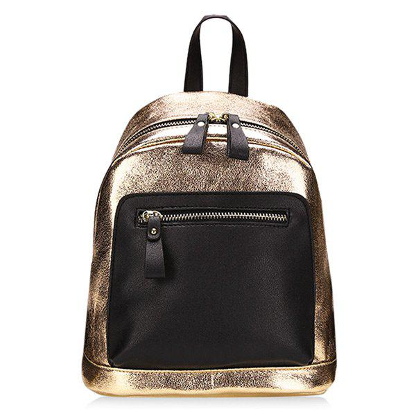 PU Leather Contrasting Color Backpack - GOLDEN