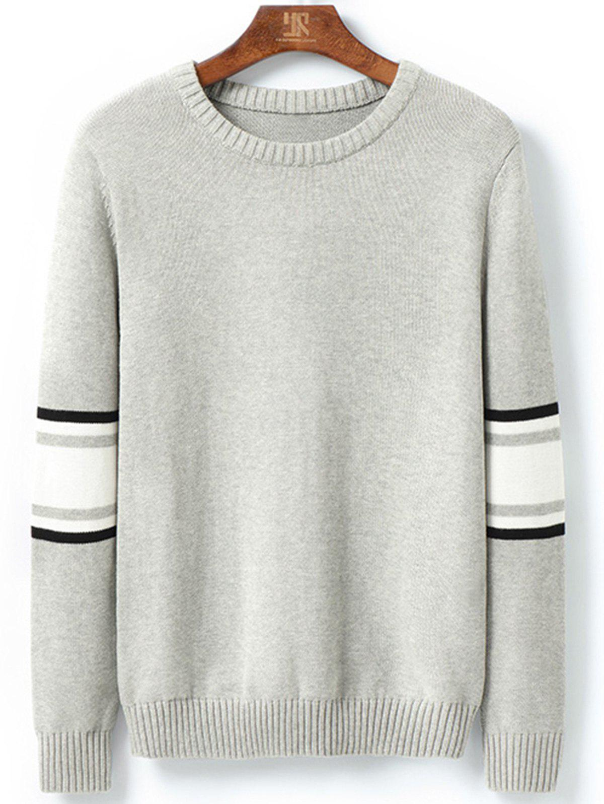 Stripe Color Block Pullover Sweater - LIGHT GRAY XL