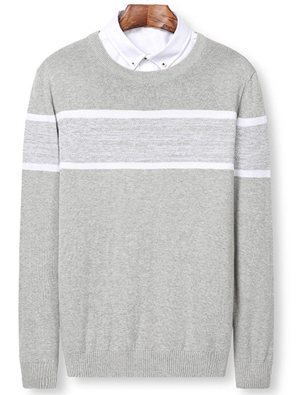 Color Block Panel Knitted Pullover Sweater - LIGHT GRAY XL