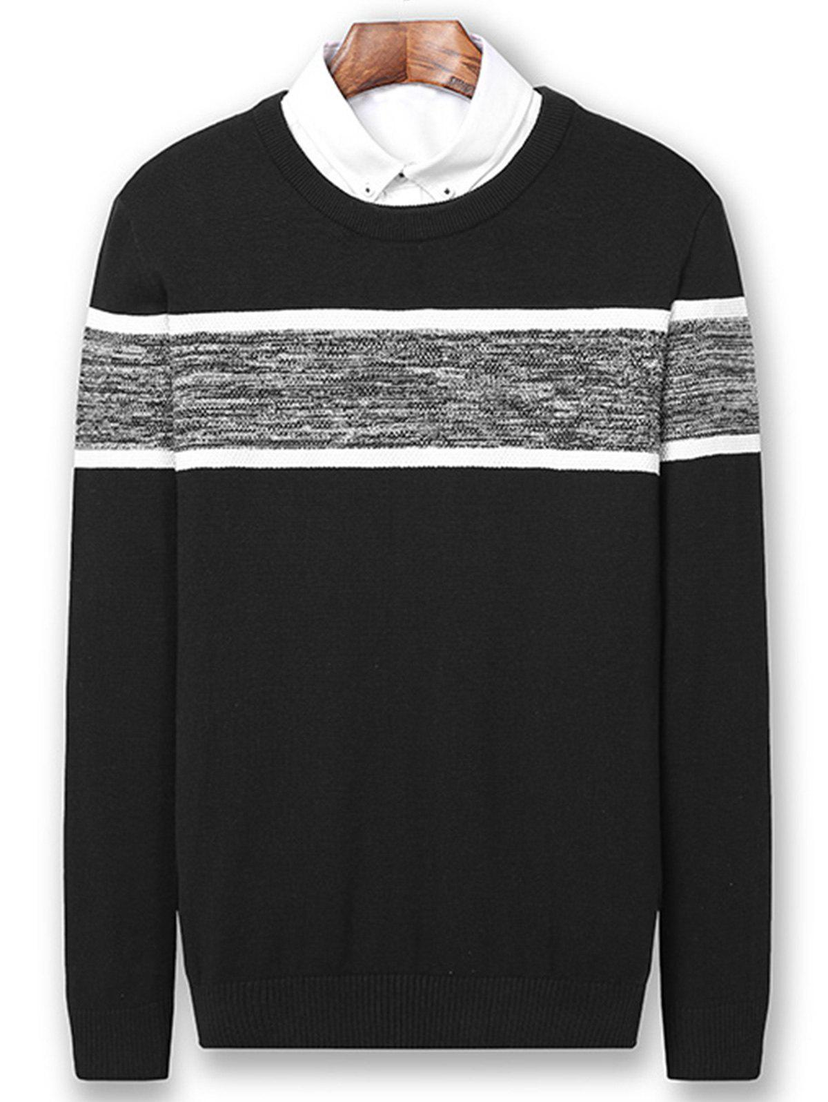 Color Block Panel Knitted Pullover Sweater - BLACK 2XL