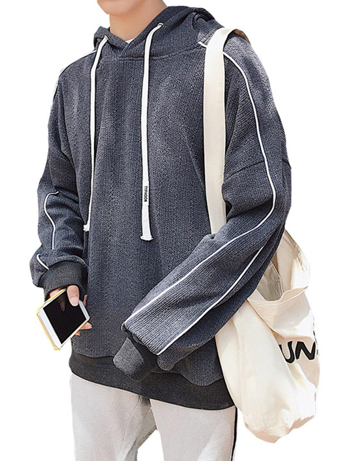 Drop Shoulder Knitted Edging Pullover Hoodie pullover drop shoulder hoodie