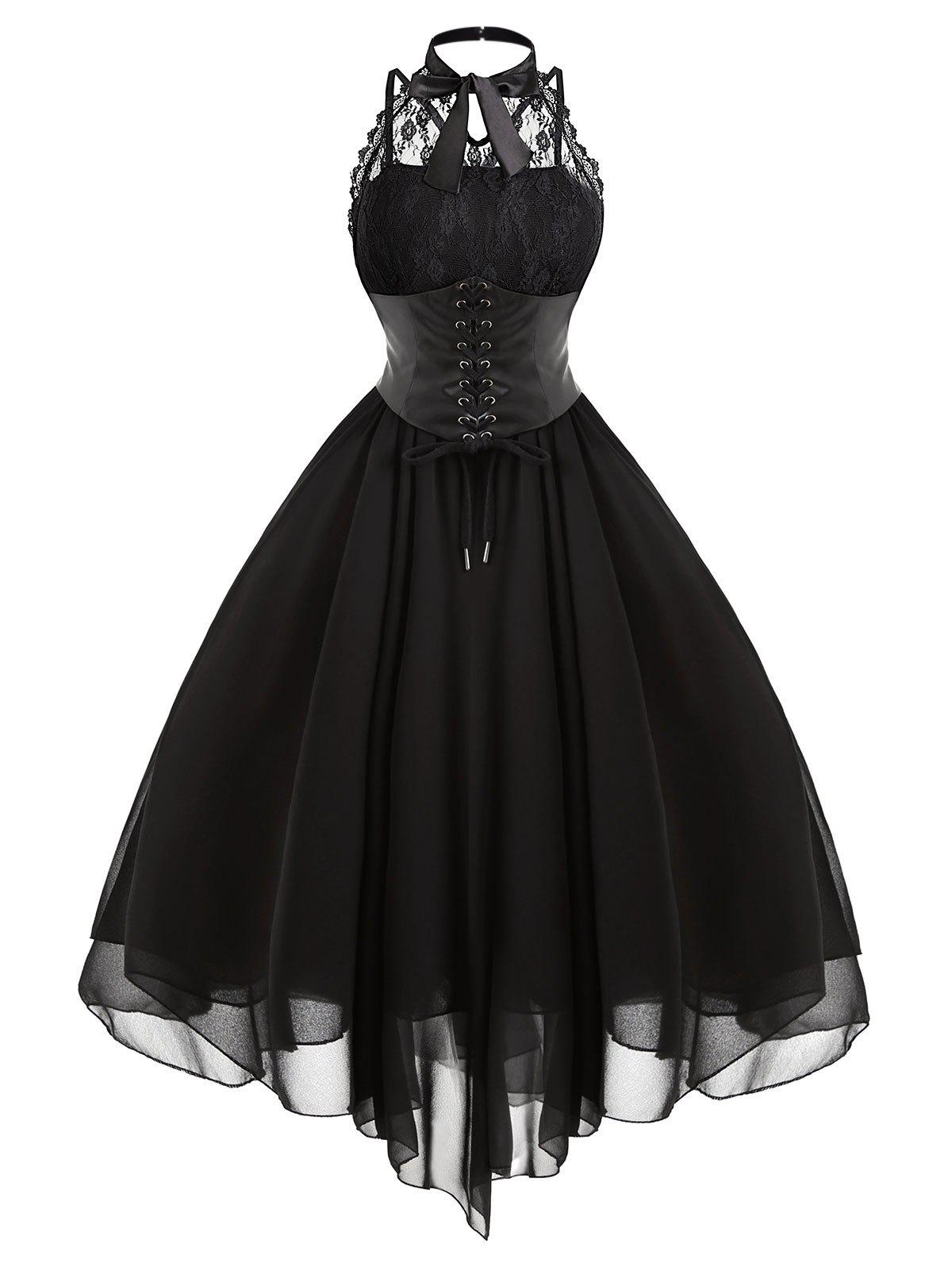 Lace Panel Cross Back Gothic Corset Dress - BLACK L
