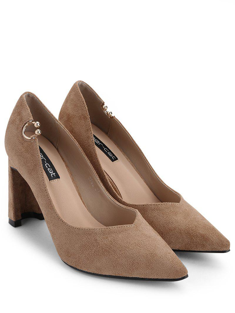 High Heel Pointed Toe Buckled Pumps - KHAKI 37