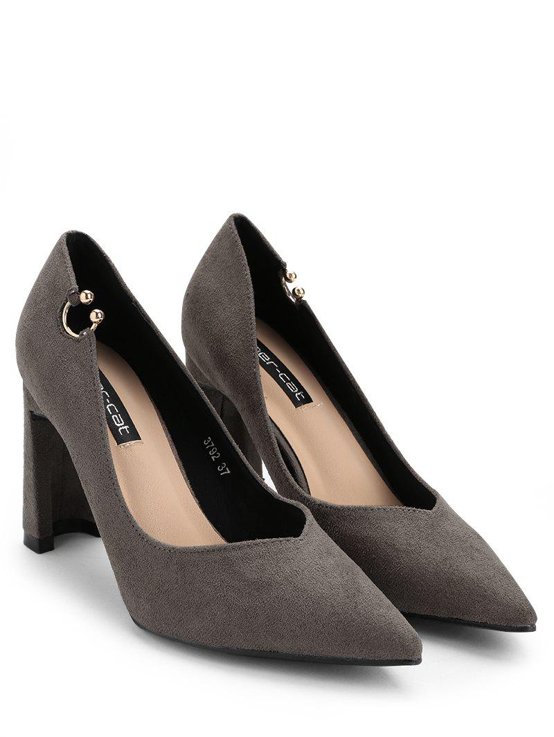 High Heel Pointed Toe Buckled Pumps - GRAY 34