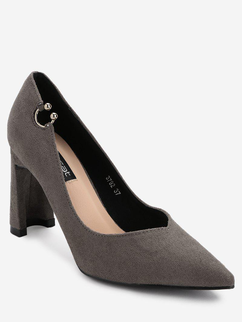 High Heel Pointed Toe Buckled Pumps - GRAY 36