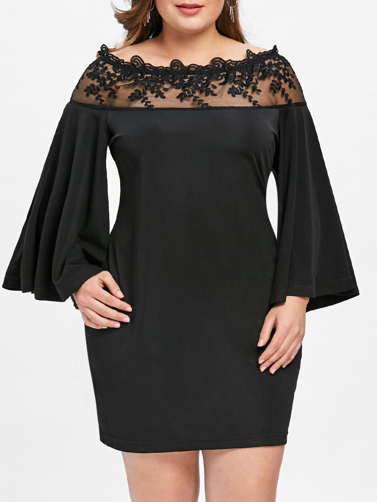 Plus Size Off Shoulder Lace Insert Fitted Dress tassel insert back fitted dress