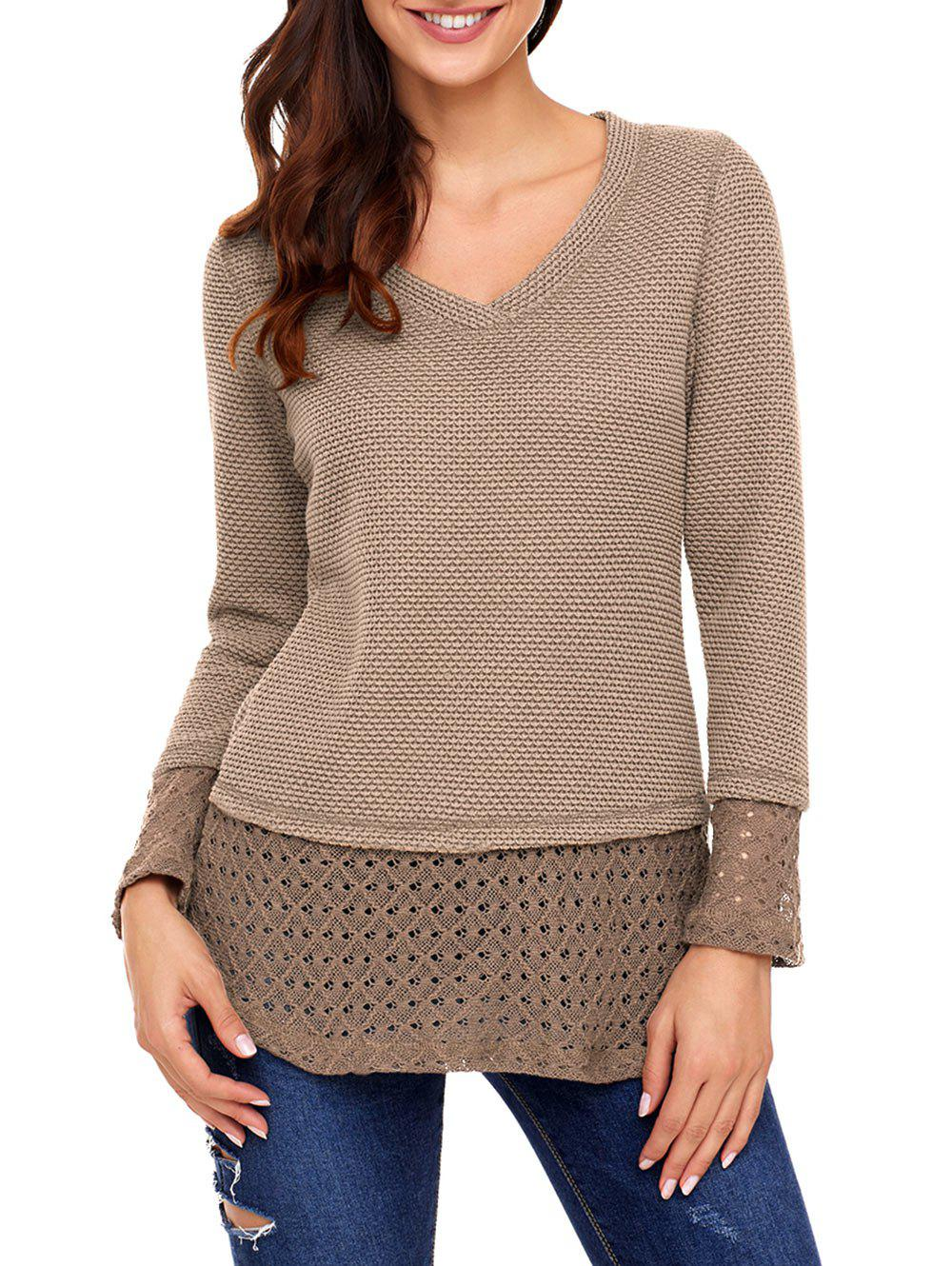 Crochet Trimmed V Neck Knit Top - KHAKI 2XL