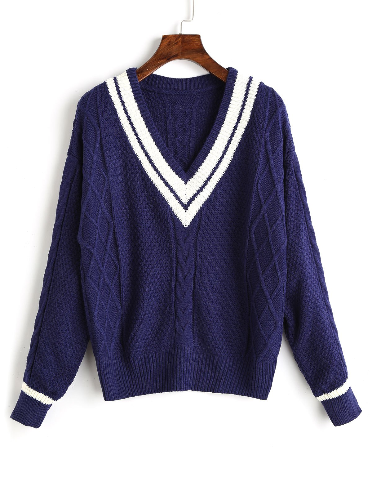 Contrast V Neck Cable Knit Sweater