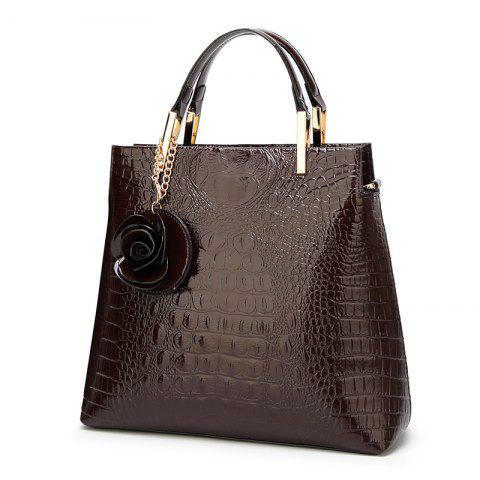 Flower Faux Leather Embossing Tote Bag - LIGHT COFFEE
